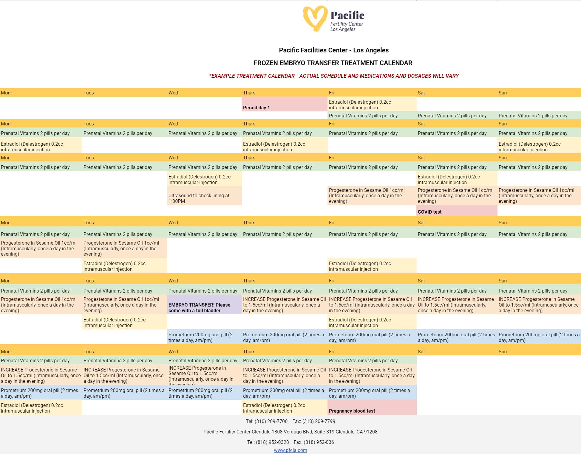 frozen embryo transfer timeline in calendar example